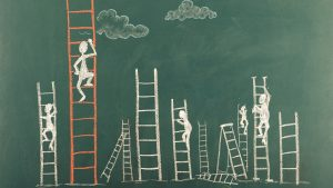 chalk characters climbing ladders